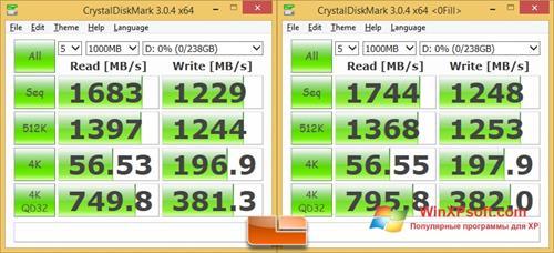 Скриншот программы CrystalDiskMark для Windows XP
