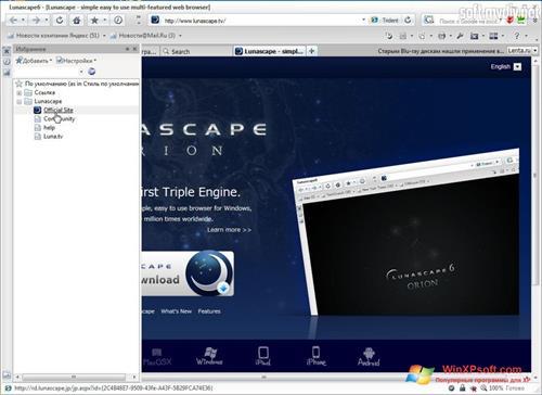 Скриншот программы Lunascape для Windows XP