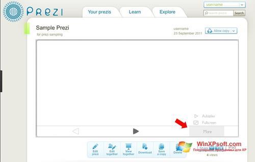Скриншот программы Prezi для Windows XP