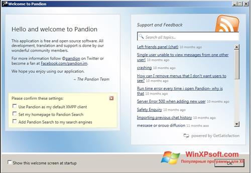 Скриншот программы Pandion для Windows XP