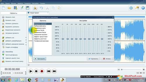 Скриншот программы АудиоМАСТЕР для Windows XP
