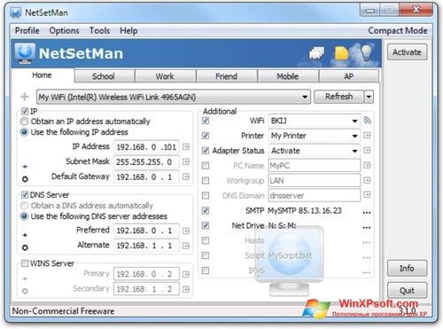 Скриншот программы NetSetMan для Windows XP