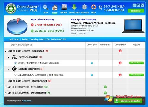 Скриншот программы DriverAgent для Windows XP
