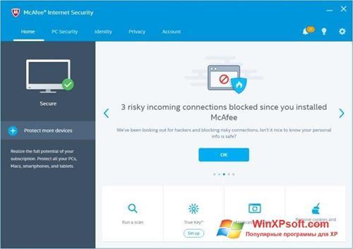 Скриншот программы McAfee для Windows XP