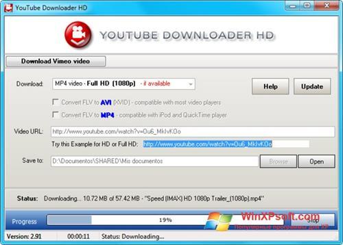 Скриншот программы Youtube Downloader HD для Windows XP