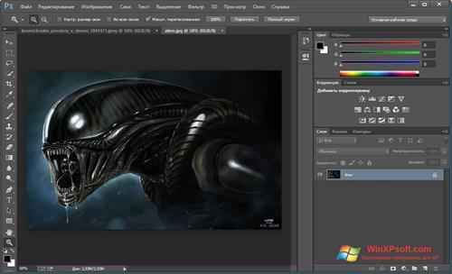 Скриншот программы Adobe Photoshop CC для Windows XP
