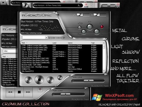 Скриншот программы RadioSure для Windows XP