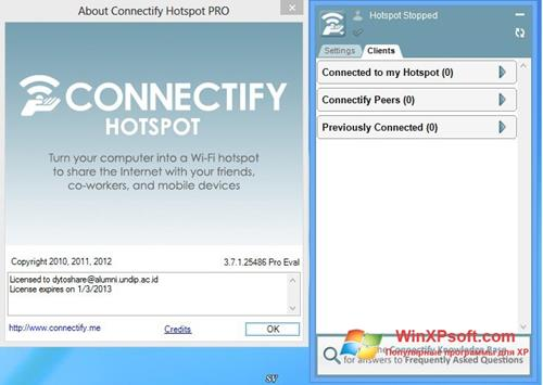 Скриншот программы Connectify для Windows XP