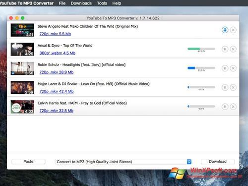 Скриншот программы Free YouTube to MP3 Converter для Windows XP