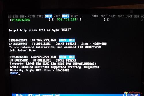 Скриншот программы MHDD для Windows XP