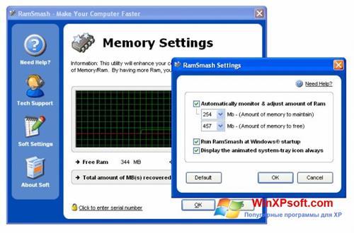 Скриншот программы RamSmash для Windows XP