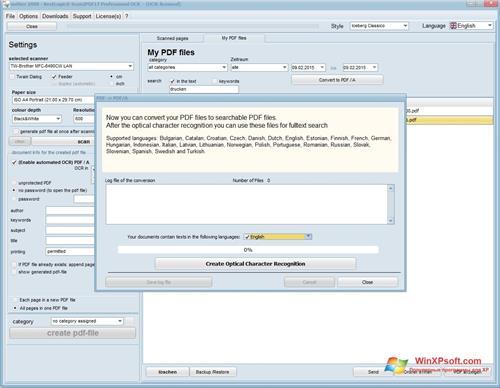Скриншот программы Scan2PDF для Windows XP