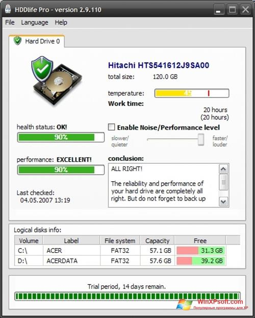 Скриншот программы HDDlife для Windows XP