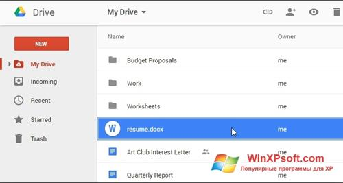 Скриншот программы Google Drive для Windows XP