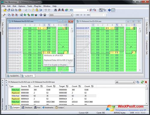 Скриншот программы Hex Workshop для Windows XP