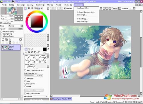 Скриншот программы Paint Tool SAI для Windows XP