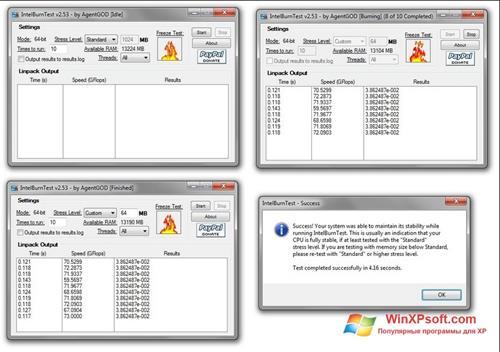 Скриншот программы CPU Stress Test для Windows XP