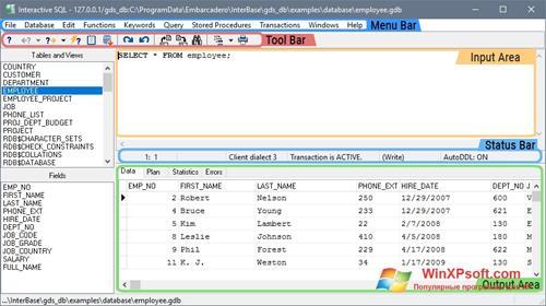 Скриншот программы InterBase для Windows XP
