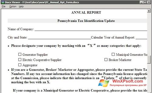 Скриншот программы DocX Viewer для Windows XP