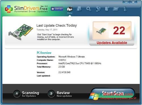 Скриншот программы SlimDrivers для Windows XP
