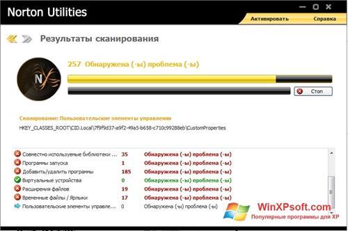 Скриншот программы Norton для Windows XP