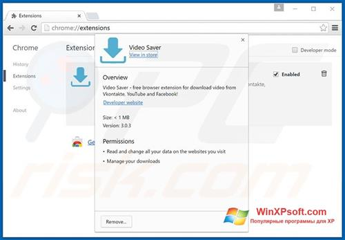 Скриншот программы VideoSaver для Windows XP
