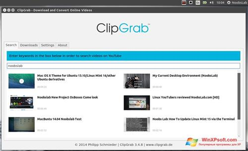 Скриншот программы ClipGrab для Windows XP