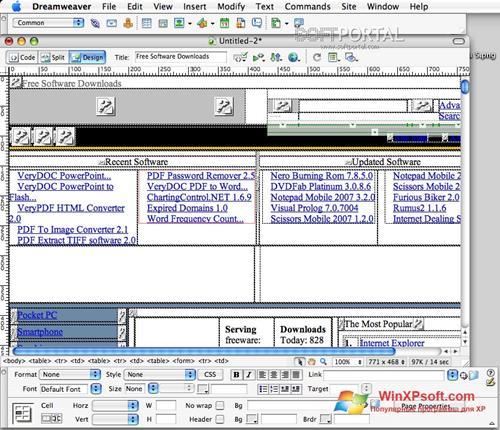 Скриншот программы Macromedia Dreamweaver для Windows XP