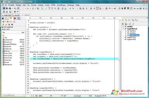 Скриншот программы PSPad для Windows XP