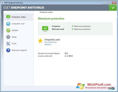 Скриншот программы ESET Endpoint Antivirus для Windows XP