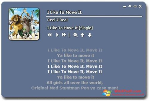 Скриншот программы MiniLyrics для Windows XP