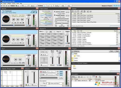 Скриншот программы SAM Broadcaster для Windows XP