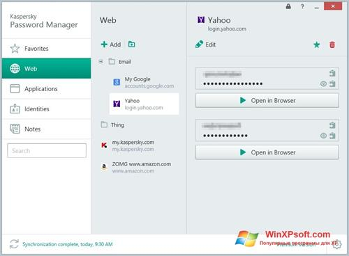 Скриншот программы Kaspersky Password Manager для Windows XP
