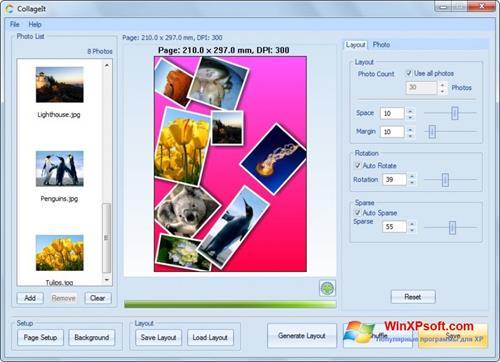 Скриншот программы CollageIt для Windows XP