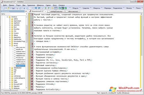 Скриншот программы EmEditor для Windows XP