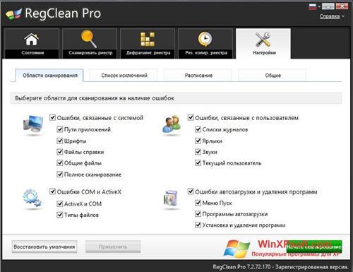 Скриншот программы RegClean Pro для Windows XP