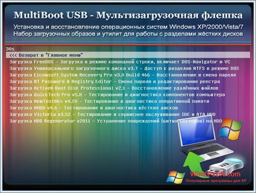 Скриншот программы MultiBoot USB для Windows XP