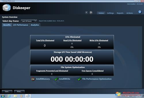Скриншот программы Diskeeper для Windows XP