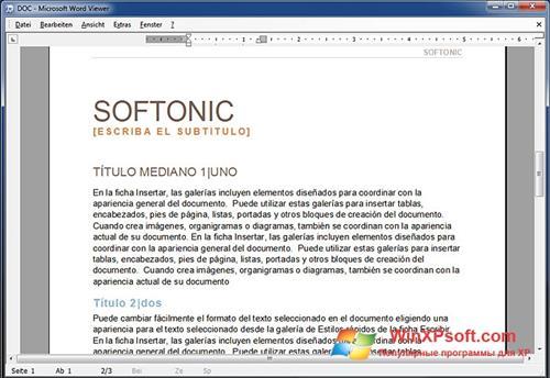 Скриншот программы Word Viewer для Windows XP