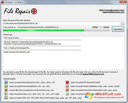 Скриншот программы File Repair для Windows XP