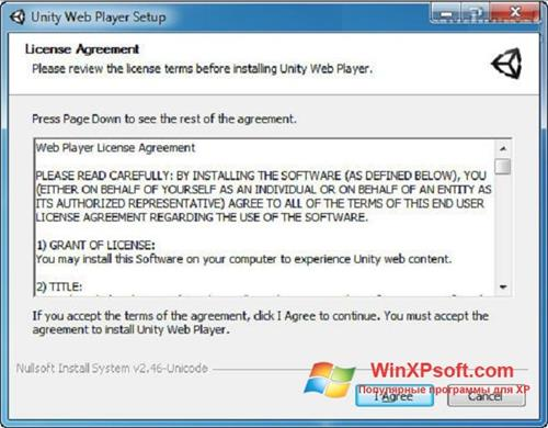 Скриншот программы Unity Web Player для Windows XP