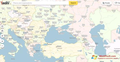 Скриншот программы Яндекс Карты для Windows XP