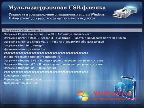 Скриншот программы MultiBoot для Windows XP