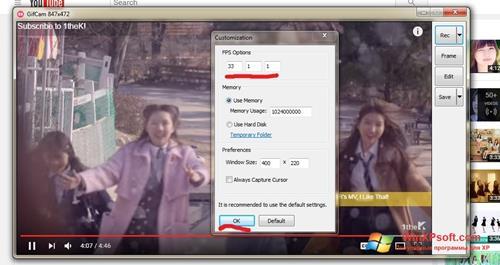 Скриншот программы GifCam для Windows XP
