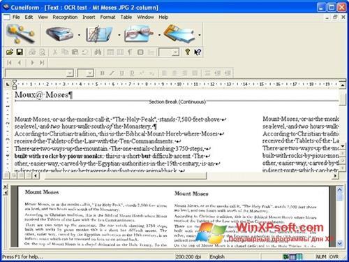 Скриншот программы CuneiForm для Windows XP