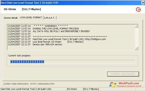 Скриншот программы HDD Low Level Format Tool для Windows XP