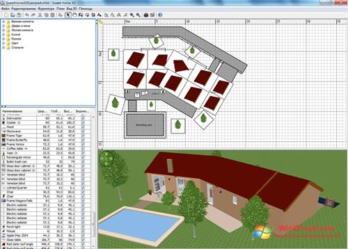 Скриншот программы Sweet Home 3D для Windows XP