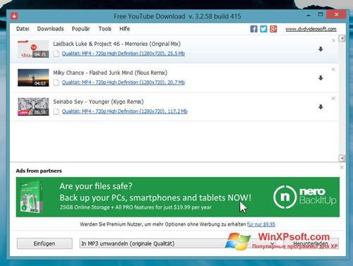 Скриншот программы Free YouTube Download для Windows XP