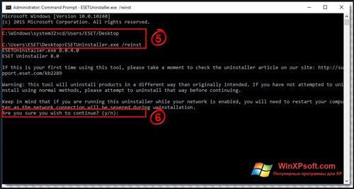 Скриншот программы ESET Uninstaller для Windows XP