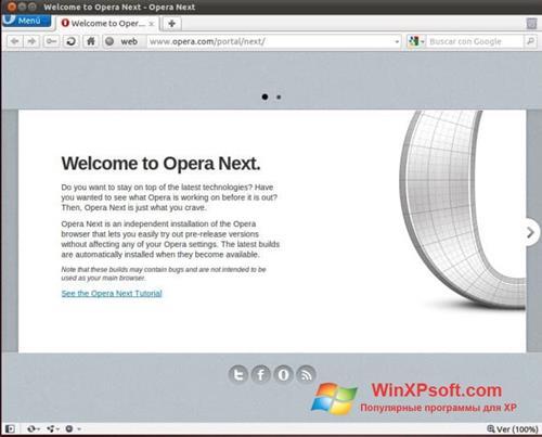 Скриншот программы Opera Next для Windows XP